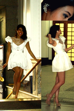 white Unlablled dress - cream London Rebel heels - gold asos earrings