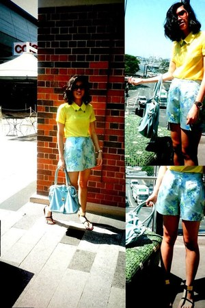 yellow Chic Boutique top - black mint green bag Style TIba bag