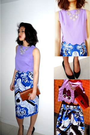 printed asos skirt - clutch Hong Kong market bag - Style Nanda top