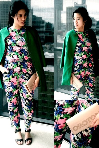 green floral pants Dish dress - green geen coat romwe coat - green Dish pants