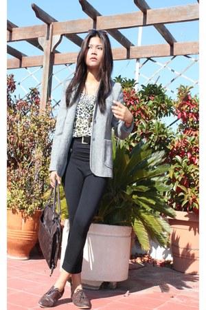 heather gray wool blazer - dark brown oxfords shoes - black high waisted tights