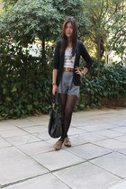 heather gray high-waisted shorts - light brown shoes - black blazer - tawny belt