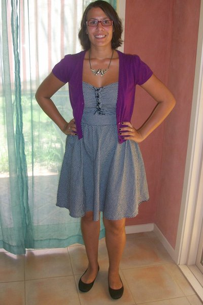 black Temt dress - black K-mart shoes - purple Big W cardigan - gold Equip