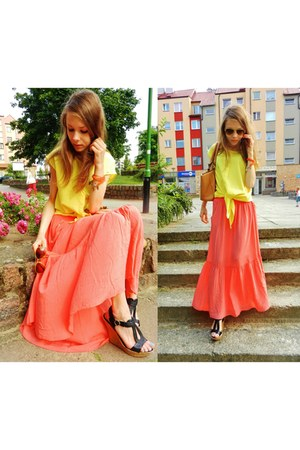Metka skirt - romwe shirt - carrot orange JollyChic bag - avaro sandals