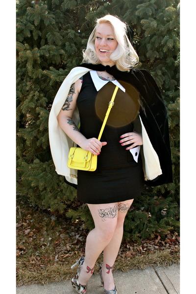 yellow Old Navy purse - dark brown Steve Madden shoes - black Red Velvet dress