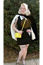yellow Old Navy purse - dark brown Steve Madden shoes - black Red Velvet dress