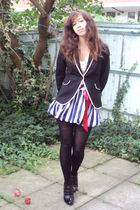 blue Republic dress - black new look boots - black Zara blazer