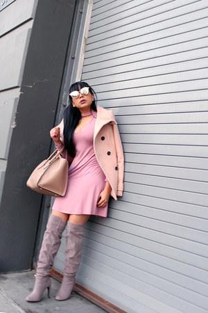 heather gray JustFab boots - pink Express dress