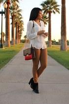 camel skinny H&M jeans - black fringe JustFab boots