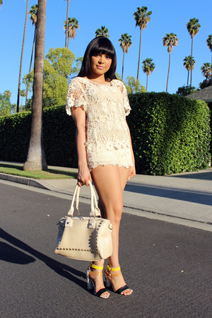 ivory crochet Wet Seal shorts - ivory crochet Forever 21 top