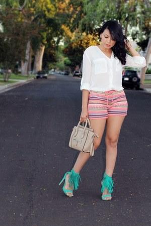 orange printed Walmart shorts - white H&M blouse