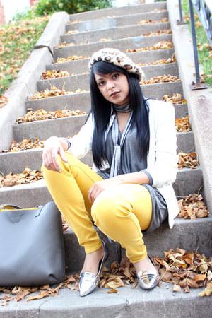 silver JustFab sweater - gold Zara jeans - silver metallic JustFab loafers