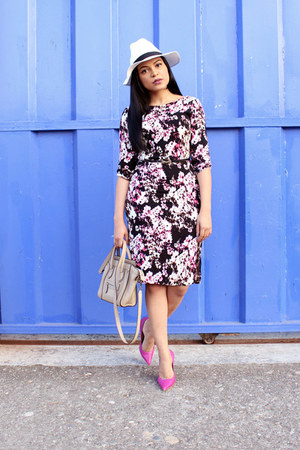 magenta floral print JustFab dress - white Forever 21 hat - tan Celine bag