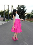 hot pink midi asos skirt - hot pink AmiClubWear heels