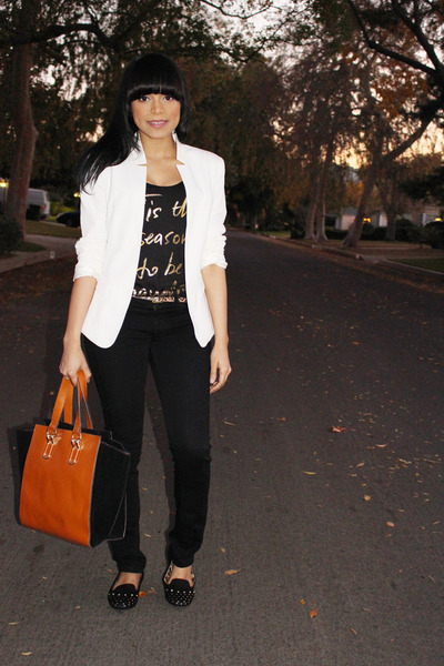 white Forever 21 blazer - black graphic tee Bebe t-shirt