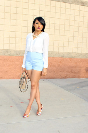 tan Celine bag - light blue high-waisted Forever 21 shorts