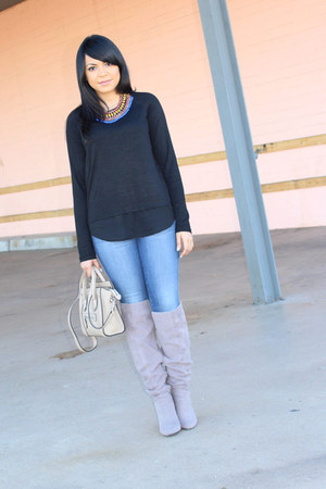 heather gray JustFab boots - navy Bebe jeans - black cotton Forever 21 top