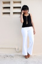 black tank Forever 21 top - white wide leg JustFab pants