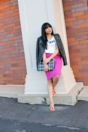 hot pink pencil skirt Bebe skirt - black Zara jacket
