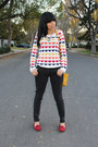 Yellow-printed-wetseal-sweater-ruby-red-payless-loafers