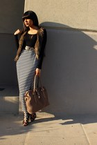 black maxi skirt Target skirt - light brown fur H&M vest