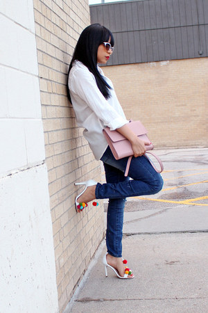 white button down H&M shirt - navy JustFab jeans