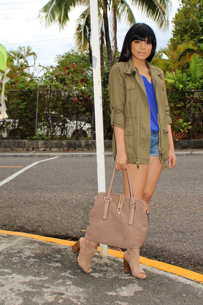 army green cargo JustFab jacket - tan JustFab bag - blue Charlotte Russe blouse