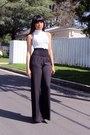 Black-wide-leg-bebe-pants-white-crochet-charlotte-russe-top