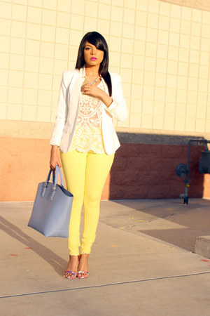 light yellow pastel Zara pants - ivory crochet Target top