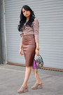 Brown-faux-leather-express-skirt-heather-gray-mules-target-heels