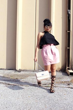 bubble gum mini skirt Tobi skirt - black gladiator JustFab sandals