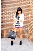 Forever21 blazer - JustFab bag - striped Forever21 shorts
