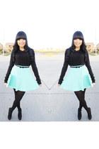 aquamarine skater skirt Charlotte Russe skirt - black Forever 21 sweater