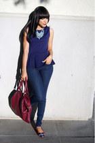 navy polka dots JustFab jeans - maroon JustFab bag - navy peplum Forever21 top