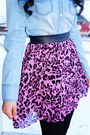 Pink-leopard-forever-21-skirt-light-blue-denim-love-culture-top