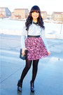 Light-blue-denim-love-culture-top-pink-leopard-forever-21-skirt
