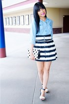 white stripes Love Culture skirt - sky blue denim Old Navy top
