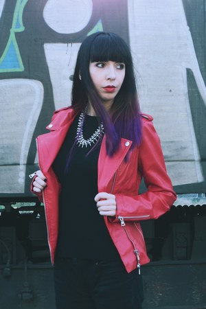 red pu biker StyleMoi jacket - black Cheap Monday jeans