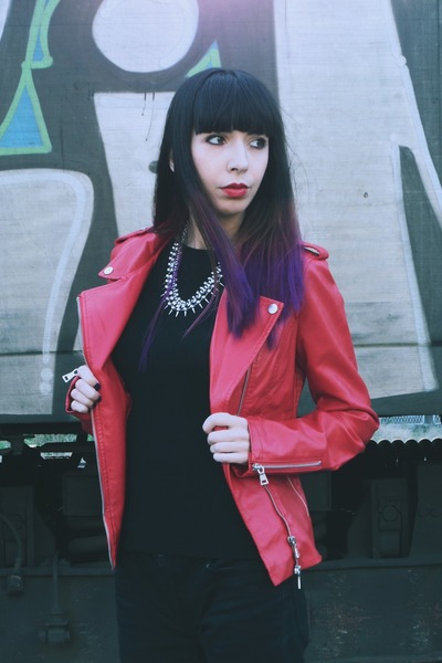 red pu biker StyleMoi jacket - black Cheap Monday jeans