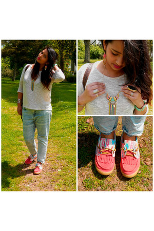 aquamarine aztec jeans - hot pink jewelery accessories - hot pink aztec flats
