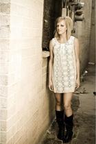 white Target dress - black Target boots