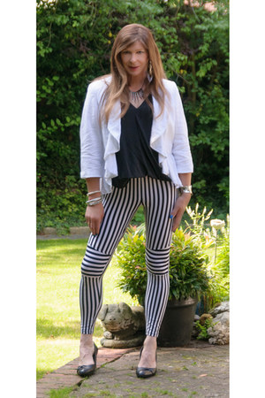 black black and white romwe leggings - white linen waterfall next jacket