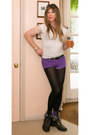 Black-new-look-boots-black-uniqlo-leggings-deep-purple-primark-shorts