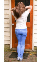 sky blue YES New Look jeans - white cotton Primark BASICS top