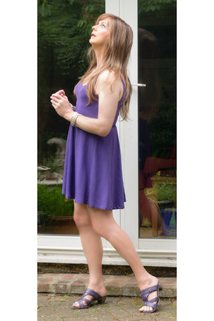 violet purple cotton dress - violet purple leather sandals