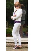 white boyfriend TRF jeans - white moto jacket - magenta H&M sunglasses
