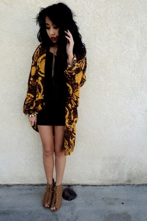 yellow thrifted cardigan