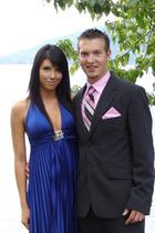 pink vest - black suit - blue dress - pink tie