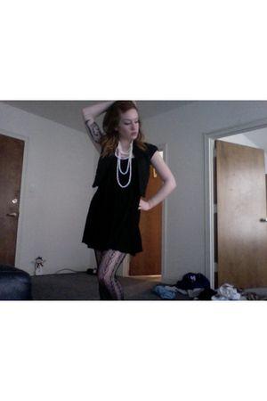 black vintage dress - white Forever21 necklace - black Express vest - black Urba