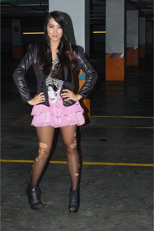black balmain diy jacket - black my own design blouse - pink my own design skirt